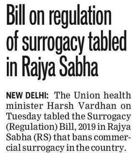 bill on regulation of surrogacy tabled in rajya sabha