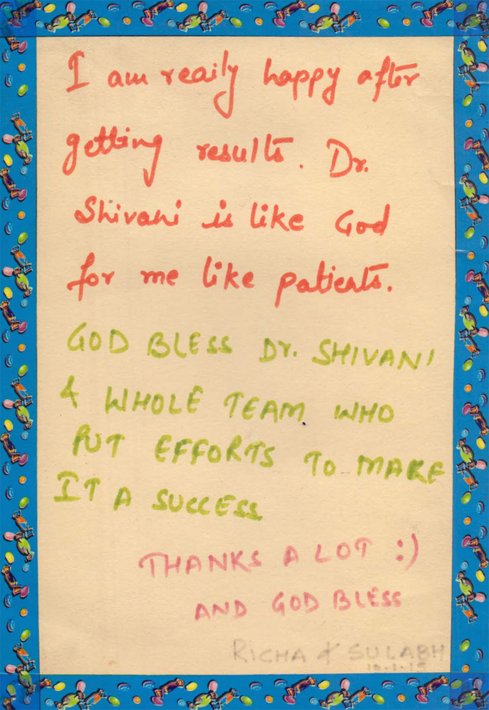 Client Testimonial for Dr Shivani is Like God