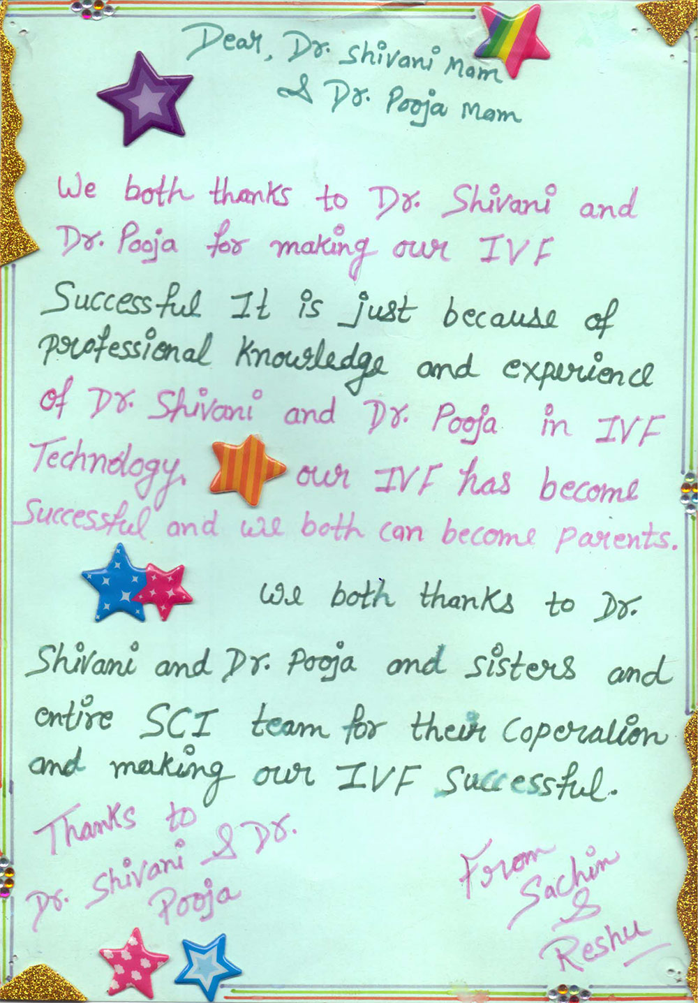 thank you message for dr shivani sachdev gour